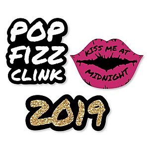 Pop, Fizz, Clink! - DIY Shaped 2019 New Year's Eve Party Paper Cut-Outs - 24 ct