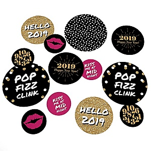 Pop, Fizz, Clink! - 2019 New Year's Eve Party Giant Circle Confetti - New Years Party Decorations - Large Confetti 27 Count
