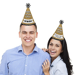 Pop, Fizz, Clink! - Cone Party Hats -  2020 New Year's Eve Resolution Cone Party Hats for Kids and Adults - Set of 8 (Standard Size)