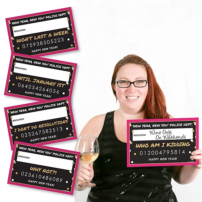 Pop, Fizz, Clink! - Party Mug Shots - New Year's Resolutions Photo Booth Props Kit - 20 Piece