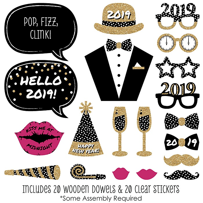 Pop, Fizz, Clink! -  2019 New Year's Eve Photo Booth Props Kit - 20 Piece