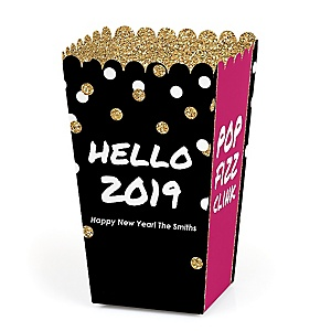Pop, Fizz, Clink! - Personalized 2019 New Year's Eve Party Popcorn Favor Treat Boxes - Set of 12