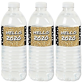 Pop, Fizz, Clink! - 2020 New Year's Eve Party Water Bottle Sticker Labels - Set of 20