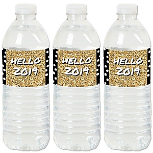Pop, Fizz, Clink! - 2019 New Year's Eve Party Water Bottle Sticker Labels - Set of 20