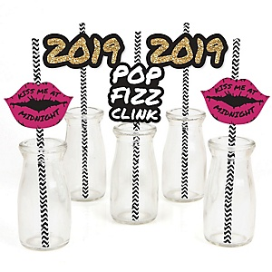 Pop, Fizz, Clink! - Paper Straw Decor - 2019 New Year's Eve Party Striped Decorative Straws - Set of 24