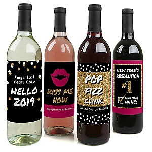 Pop, Fizz, Clink! - 2019  New Year's Eve Holiday Decorations for Women and Men - Wine Bottle Label Stickers - Set of 4