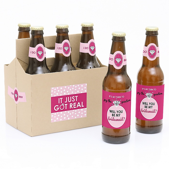 Pop The Question - Decorations for Women - 6 Will You Be My Bridesmaid Beer Bottle Label Stickers and 1 Carrier