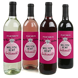 Pop The Question - Will You Be My Bridesmaid Decorations for Women - Wine Bottle Label Stickers - Set of 4