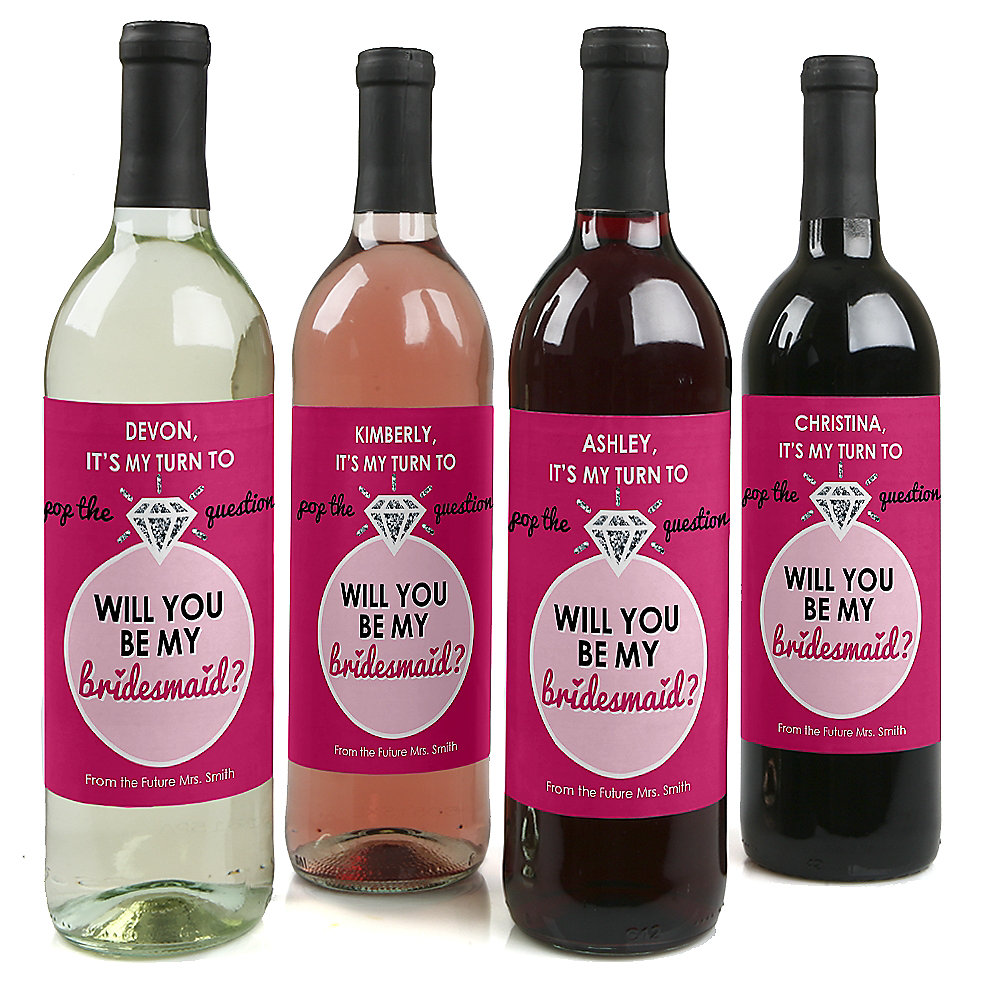 pop the question personalized will you be my bridesmaid wine