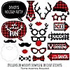Prancing Plaid - 20 Piece Buffalo Plaid Holiday Photo Booth Props Kit