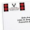 Prancing Plaid - 30 Personalized Buffalo Plaid Holiday Return Address Labels