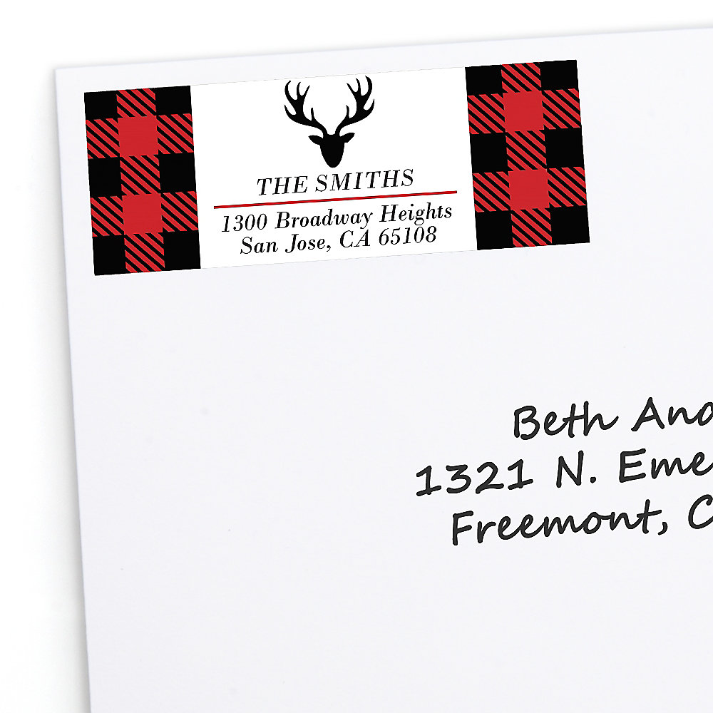 Christmas Return Address Labels.Prancing Plaid 30 Personalized Buffalo Plaid Holiday Return Address Labels