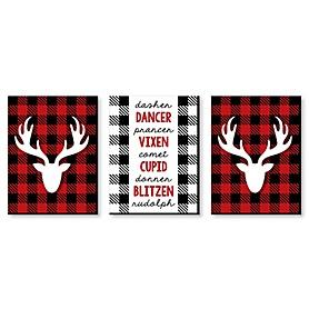 Prancing Plaid - Reindeer Wall Art and Buffalo Plaid Christmas Decor - 7.5 x 10 inches - Set of 3 Prints