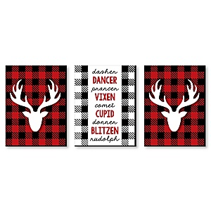 Prancing Plaid - Reindeer Wall Art and Buffalo Plaid Christmas Decor - 7.5 x 10 inches - Set of 3 Prints
