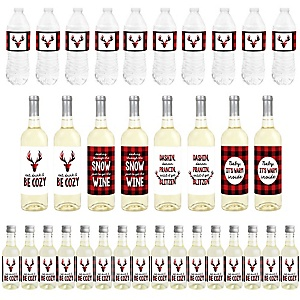Prancing Plaid - Mini Wine Bottle Labels, Wine Bottle Labels and Water Bottle Labels - Reindeer Holiday and Christmas Party Decorations - Beverage Bar Kit - 34 Pieces