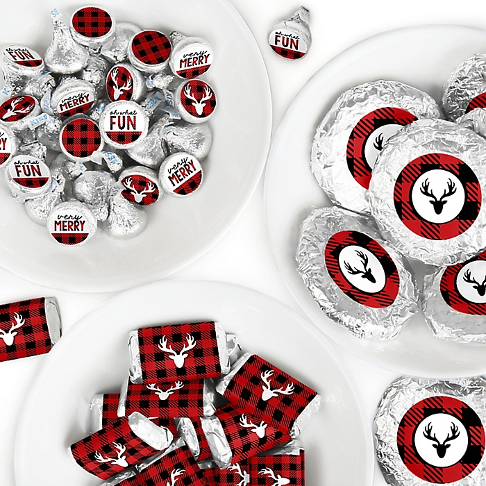 Prancing Plaid - Mini Candy Bar Wrappers, Round Candy Stickers and Circle Stickers - Reindeer Holiday and Christmas Party Candy Favor Sticker Kit - 304 Pieces