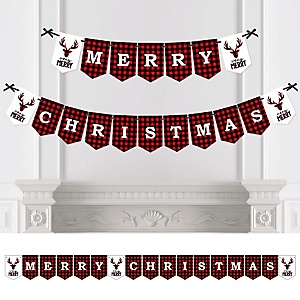 Prancing Plaid - Personalized Buffalo Plaid Holiday Bunting Banner & Decorations