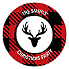 Prancing Plaid - Round Personalized Reindeer Holiday & Buffalo Plaid Christmas Party Sticker Labels - 24 ct