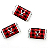Prancing Plaid - Personalized Mini Candy Bar Wrappers Reindeer Holiday & Buffalo Plaid Christmas Party Favors - 20 ct