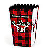 Prancing Plaid - Personalized Buffalo Plaid Holiday Popcorn Favor Treat Boxes - Set of 12
