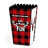 Prancing Plaid - Personalized Buffalo Plaid Holiday Popcorn Favor Treat Boxes - Set of 12