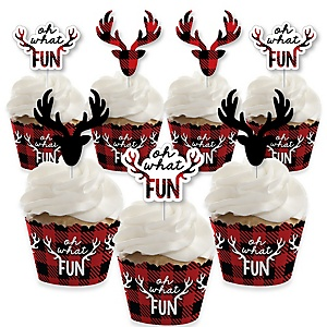 Prancing Plaid - Cupcake Decoration - Reindeer Holiday and Christmas Party Cupcake Wrappers and Treat Picks Kit - Set of 24