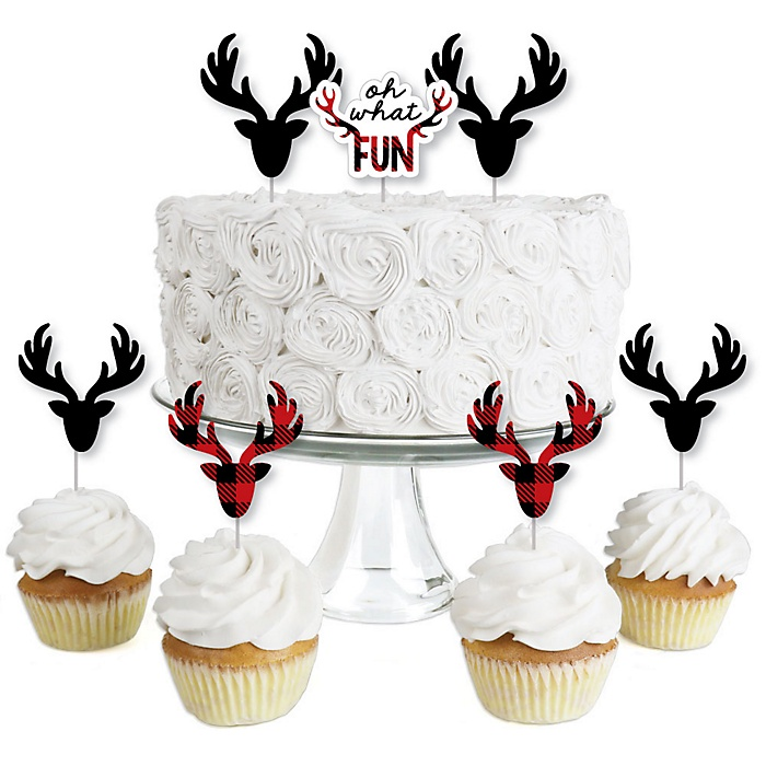 Prancing Plaid - Dessert Cupcake Toppers - Reindeer Holiday & Christmas Party Clear Treat Picks - Set of 24