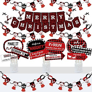 Prancing Plaid - Banner and Photo Booth Decorations - Reindeer Holiday and Christmas Party Supplies Kit - Doterrific Bundle