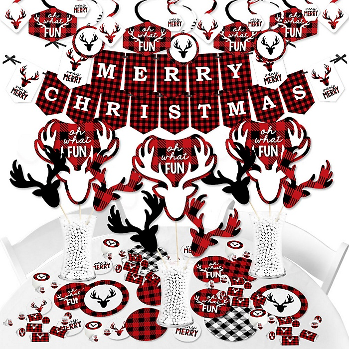 Prancing Plaid - Reindeer Holiday and Christmas Party Supplies - Banner Decoration Kit - Fundle Bundle