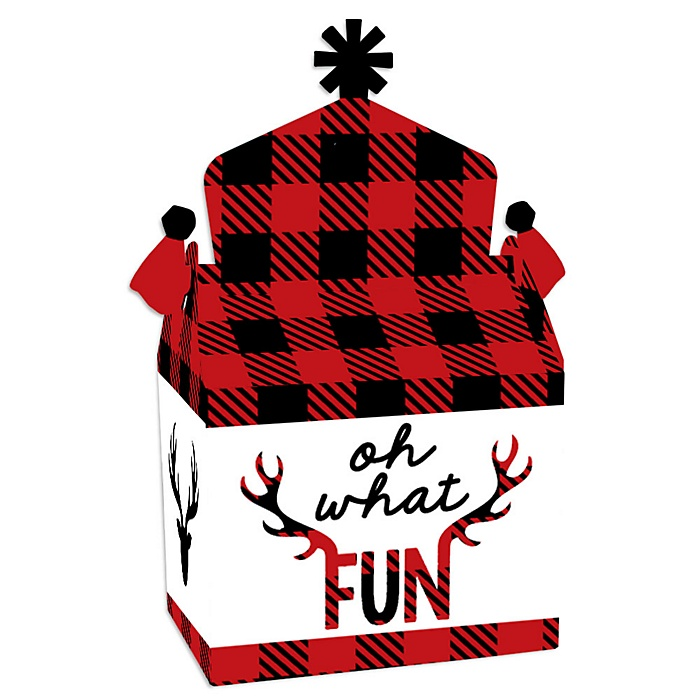 Prancing Plaid - Treat Box Party Favors - Reindeer Holiday and Christmas Party Goodie Gable Boxes - Set of 12