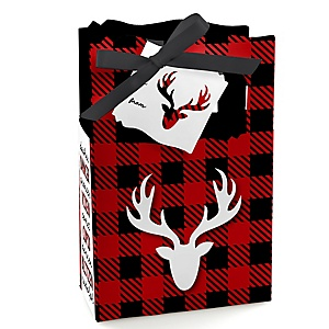 Prancing Plaid - Holiday Party Gift Box - Buffalo Plaid Christmas Party Favor Boxes - Set of 12