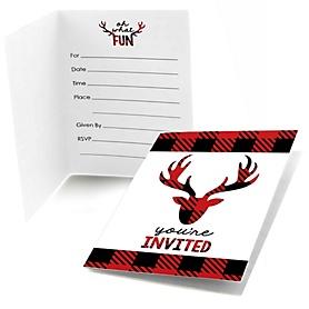 Prancing Plaid - Fill In Christmas & Holiday Buffalo Plaid Party Invitations