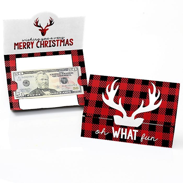 Prancing Plaid - Set of 8 Buffalo Plaid Holiday Money And Gift Card Holders