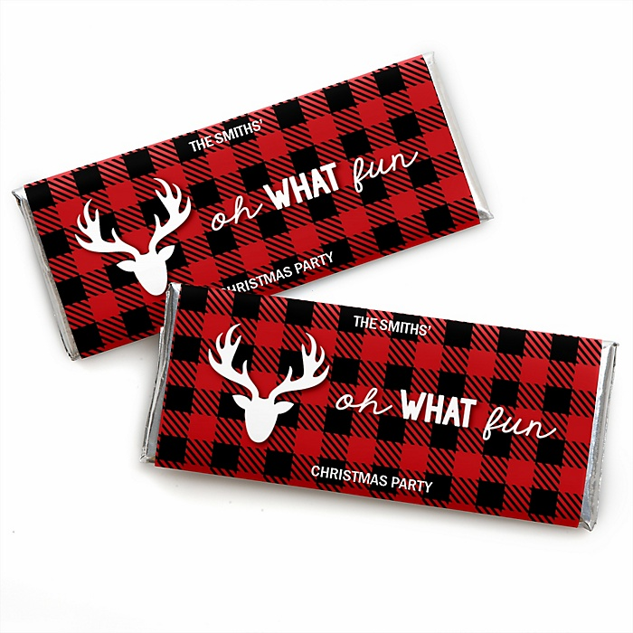 Prancing Plaid - Personalized Candy Bar Wrapper Christmas & Holiday Buffalo Plaid Party Favors - Set of 24