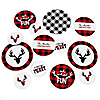 Prancing Plaid - Personalized Buffalo Plaid Holiday Party Giant Circle Confetti - Red Flannel Party Decorations - Large Confetti 27 Count
