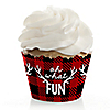 Prancing Plaid - Buffalo Plaid Holiday Party Decorations - Party Cupcake Wrappers - Set of 12