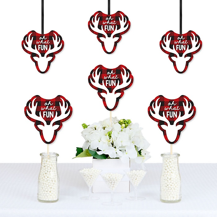 Prancing Plaid - Reindeer Decorations DIY Christmas & Holiday Buffalo Plaid Party Essentials - Set of 20