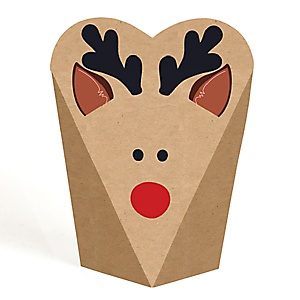 Reindeer Shaped Box – Prancing Plaid Christmas & Holiday Party Favors - Gift Favor Boxes for Women & Kids - Set of 12