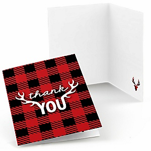 Prancing Plaid - Christmas & Holiday Buffalo Plaid Party Thank You Cards