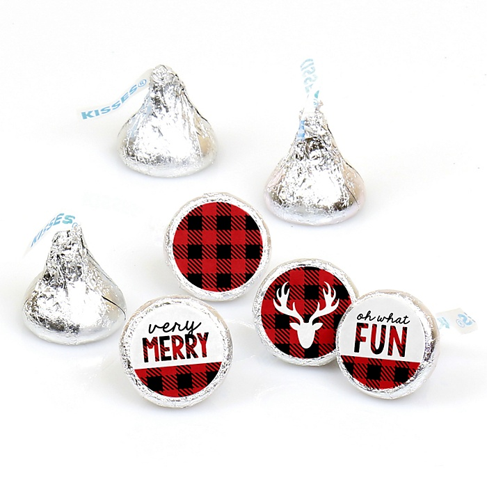 Prancing Plaid - Round Candy Labels Holiday Party Favors - Fits Hershey Kisses - Buffalo Plaid Round Sticker Labels - 108 ct