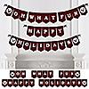 Prancing Plaid - Happy Holidays Bunting Banner & Buffalo Plaid Decorations