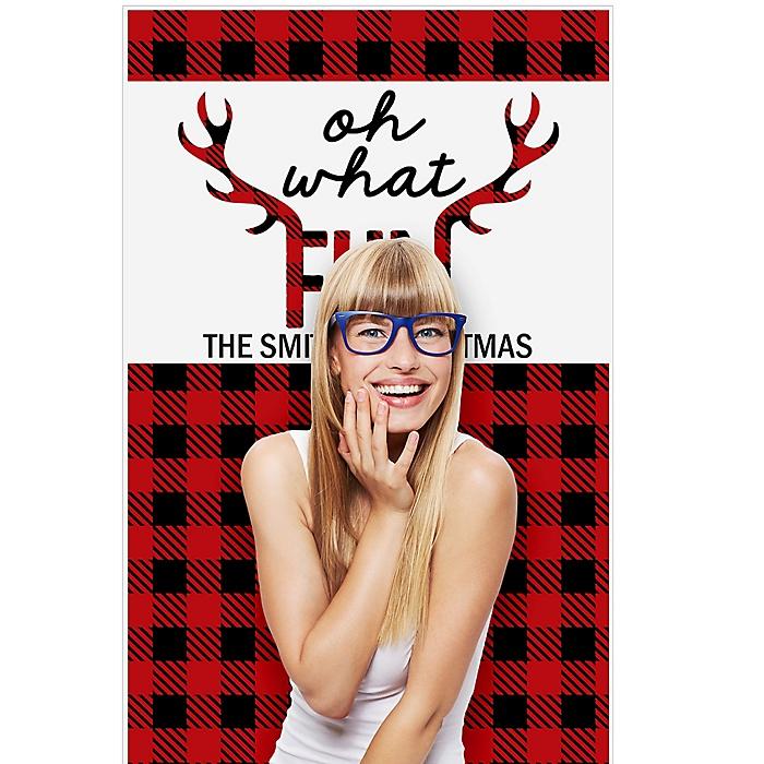 "Prancing Plaid - Christmas & Holiday Buffalo Plaid Party Photo Booth Backdrops - 36"" x 60"""