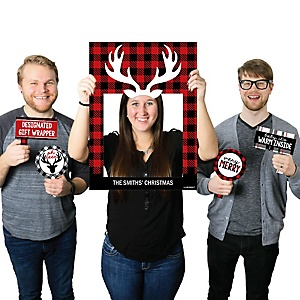 Prancing Plaid - Personalized Christmas & Holiday Buffalo Plaid Party Selfie Photo Booth Picture Frame & Props - Printed on Sturdy Material