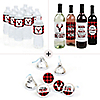 Prancing Plaid - Holiday Party Decorations & Favors Kit - Wine, Water and Candy Labels - Buffalo Plaid Trio Sticker Set