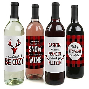 Prancing Plaid - Holiday Decorations for Women and Men - Wine Bottle Label Stickers - Buffalo Plaid Decorations for Women and Men - Wine Bottle Labels - Set of 4