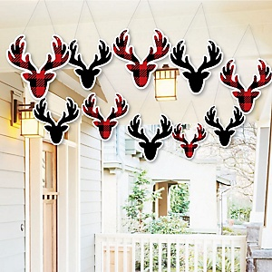 Hanging Prancing Plaid - Outdoor Christmas & Holiday Buffalo Plaid Hanging Porch & Tree Yard Decorations - 10 Pieces