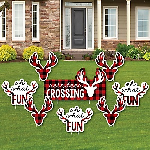 Prancing Plaid - Yard Sign & Outdoor Lawn Decorations - Christmas & Holiday Buffalo Plaid Yard Signs - Set of 8