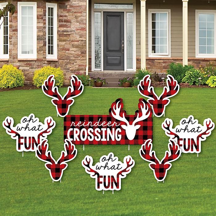 Prancing Plaid - Yard Sign & Outdoor Lawn Decorations - Christmas & Holiday Buffalo Plaid Yard Signs - Set of 8