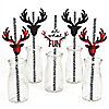 Prancing Plaid - Paper Straw Decor - Buffalo Plaid Holiday Party Striped Decorative Straws - Set of 24