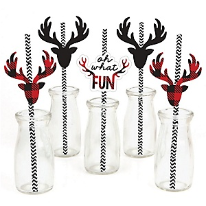 Prancing Plaid - Paper Straw Decor - Buffalo Plaid Holiday Party Striped Decorative Straws - Set of 24
